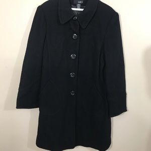 MIX IT Long Black Coat Tweed Fabric Fully Lined